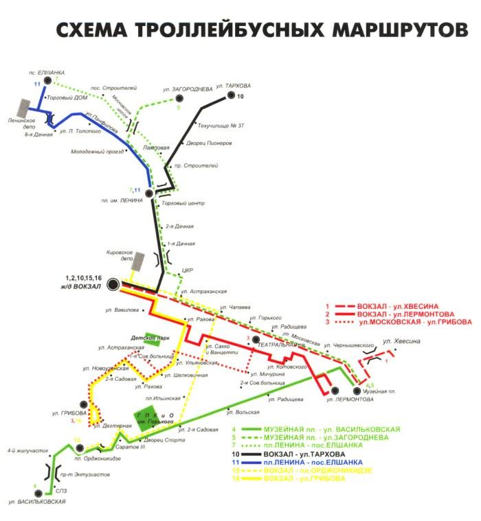 Схема троллейбусных маршрутов 11