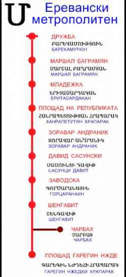 Схема Ереванского метро.