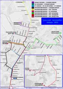 Схема троллейбусных маршрутов тулы