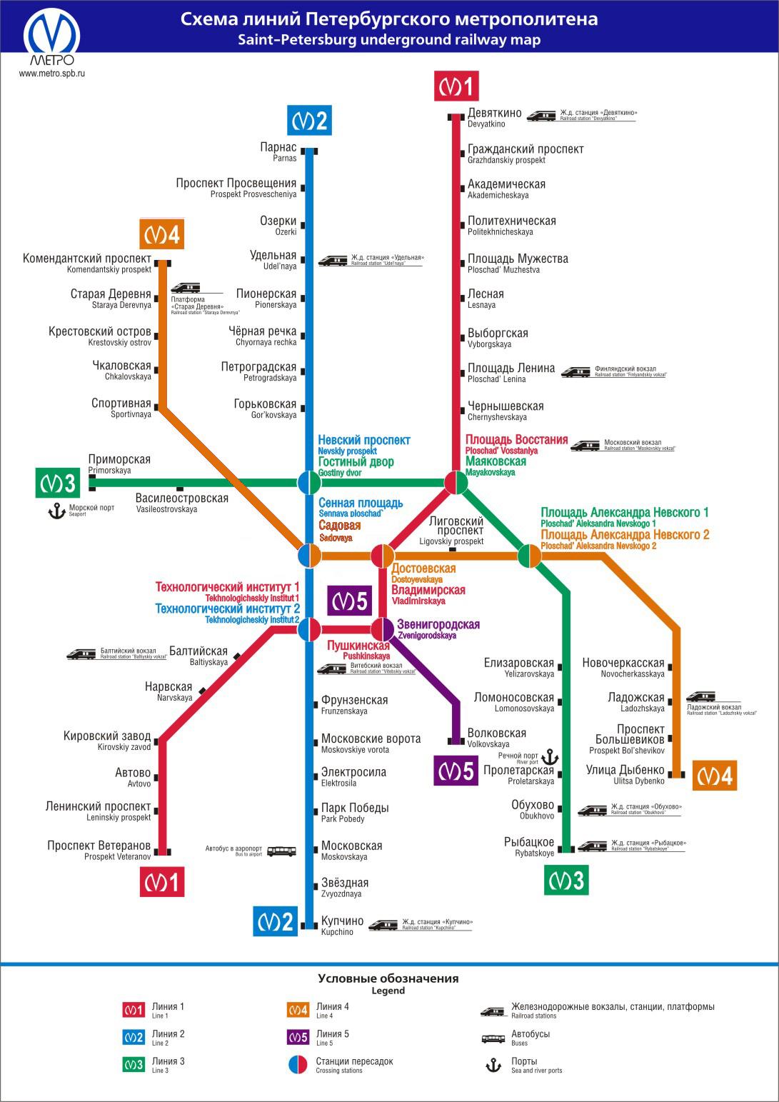 Схема метро санкт-петербурга с вокзалами на карте