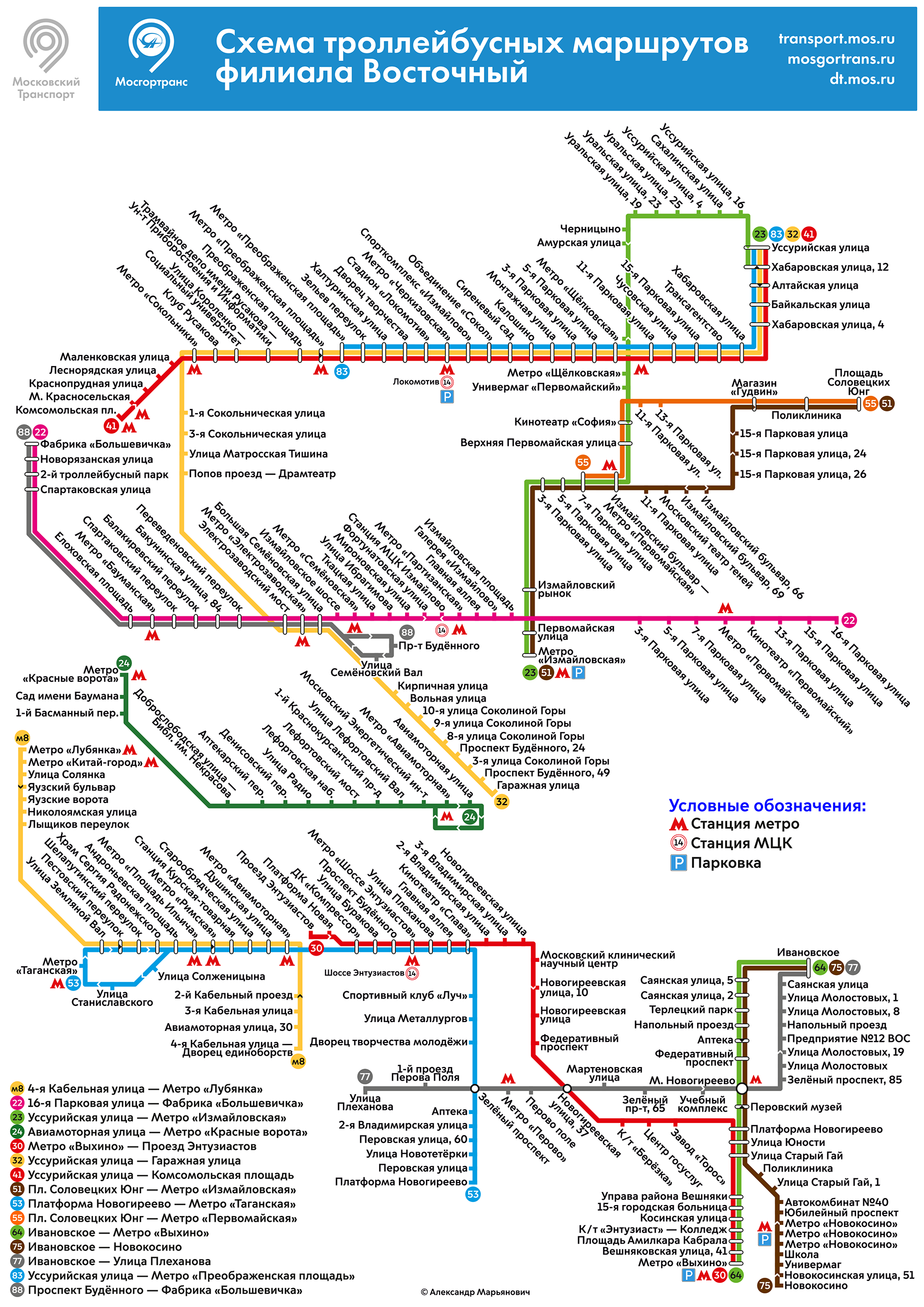 Схема маршрут троллейбуса 20