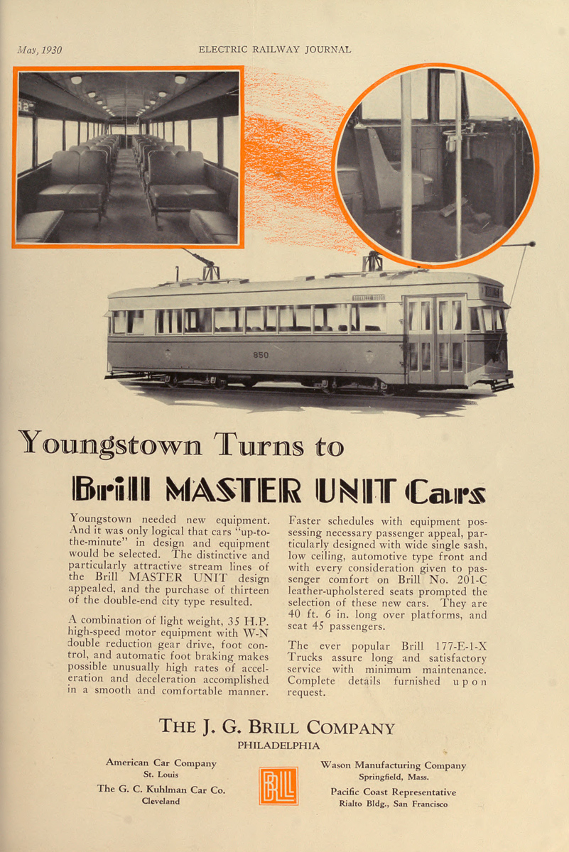 Penn-Ohio System, Kuhlman 4-axle motor car # 850; Advertising and documentation (Penn-Ohio System)